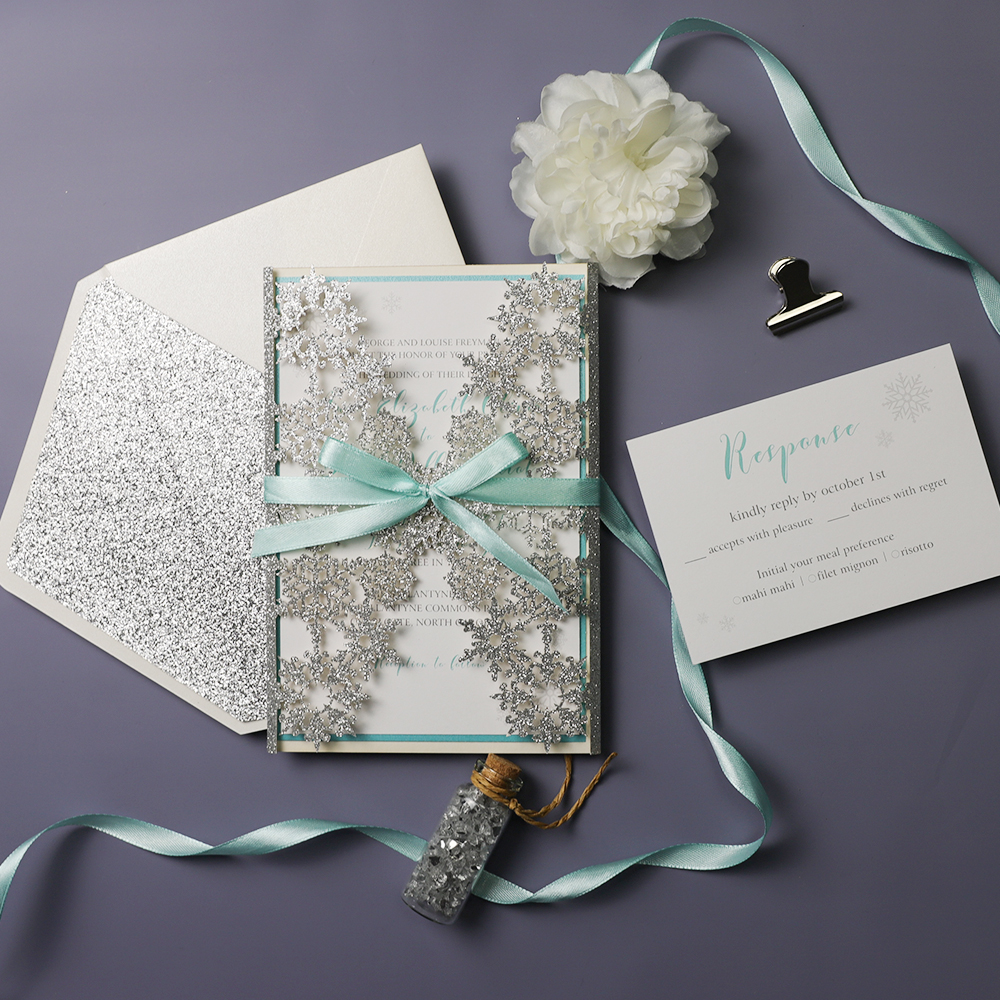 Snowflake White Silver Aqua Winter Wedding Invitation PWIL088