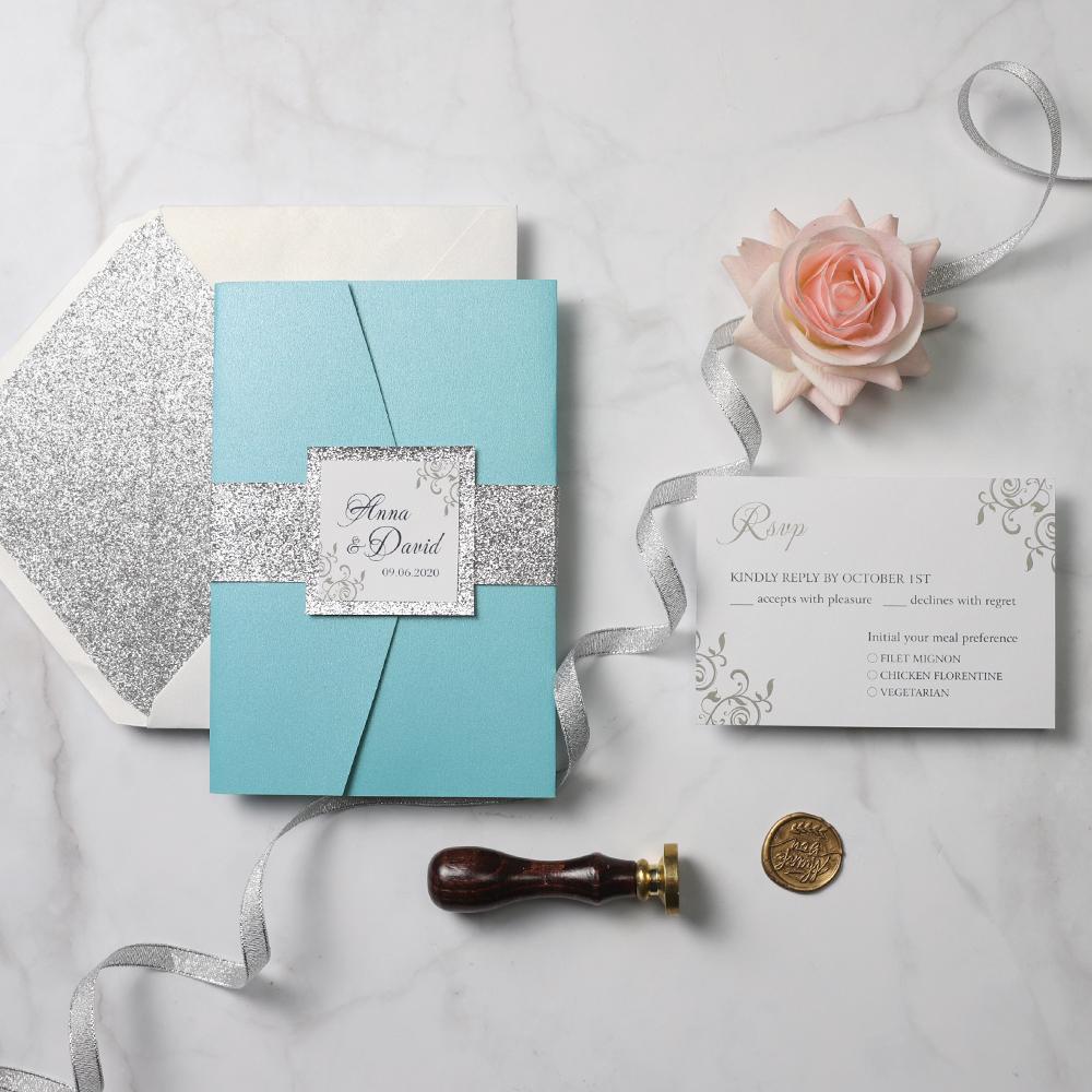 Tiffany Wedding Invitations: Modern Tiffany Blue Laser Cut Silver Glitter Wedding