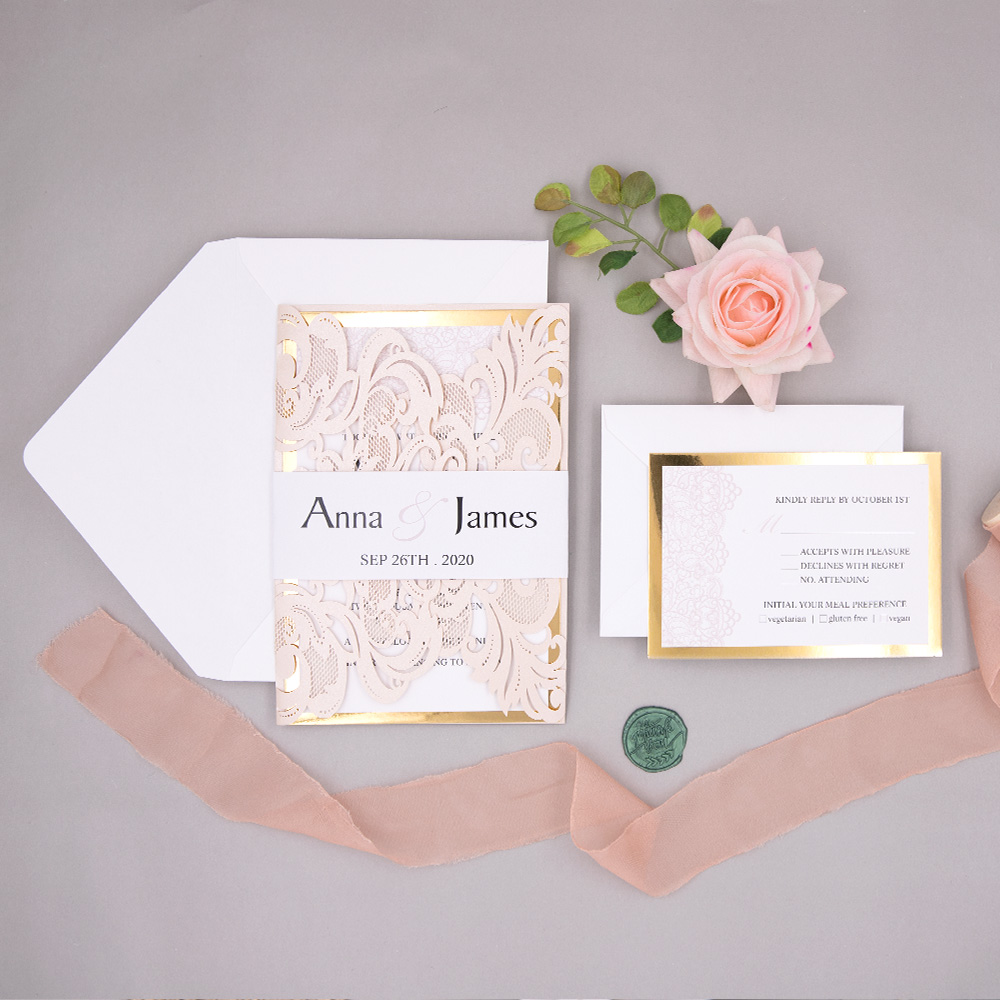 Blush Laser Cut Pocket Fold Resembles Lace With A Lace Inspired Invitation, Mirrored Backer, And Custom Belly Band PWIL099