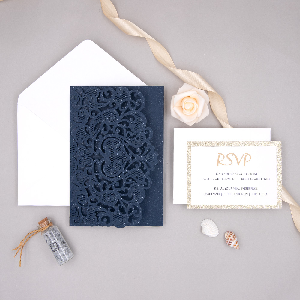 Navy Blue Laser Cut Wedding Invitation With Champagne Gold Glitter Liner PWIL100