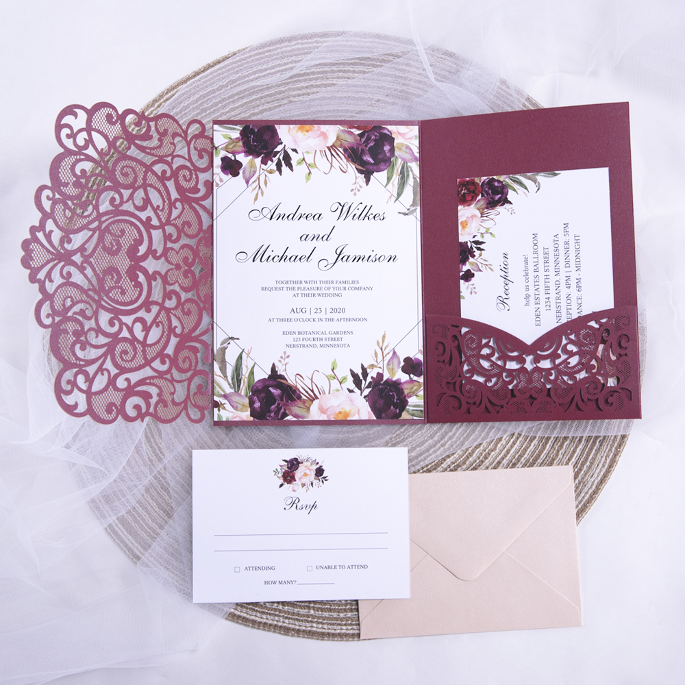 Burgundy Laser Cut Pocket Fold With Floral And Geometric Invitation PWIL120