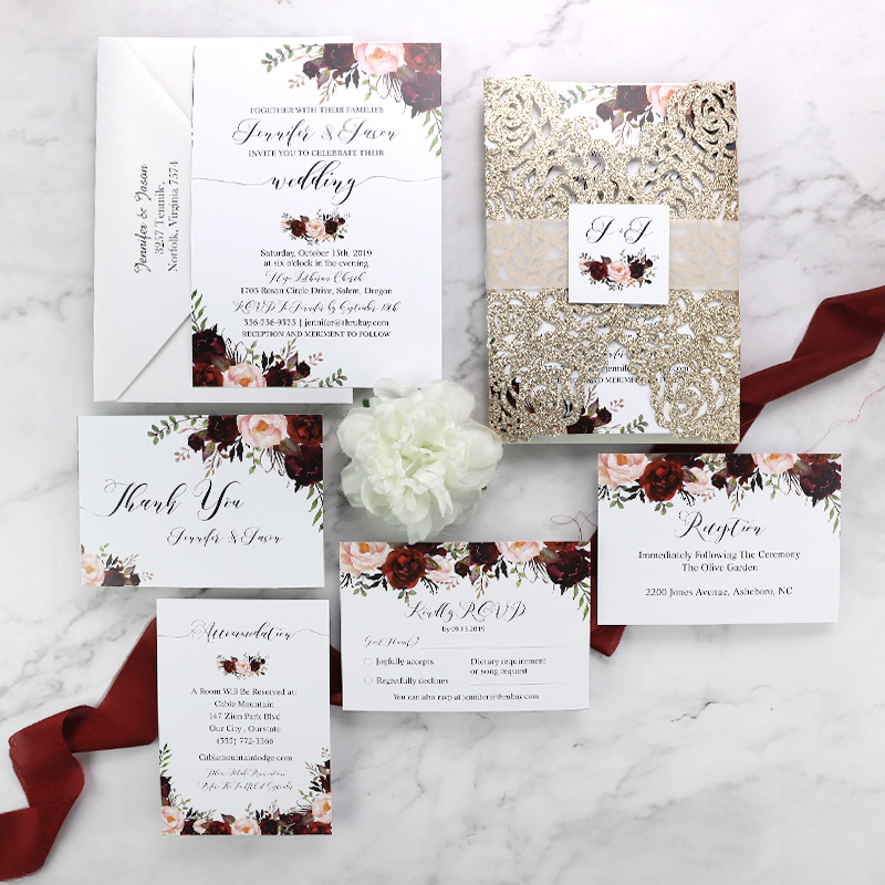 Rustic Marsala and Blush Floral Rose Gold Wedding Invitation Set PWIM002