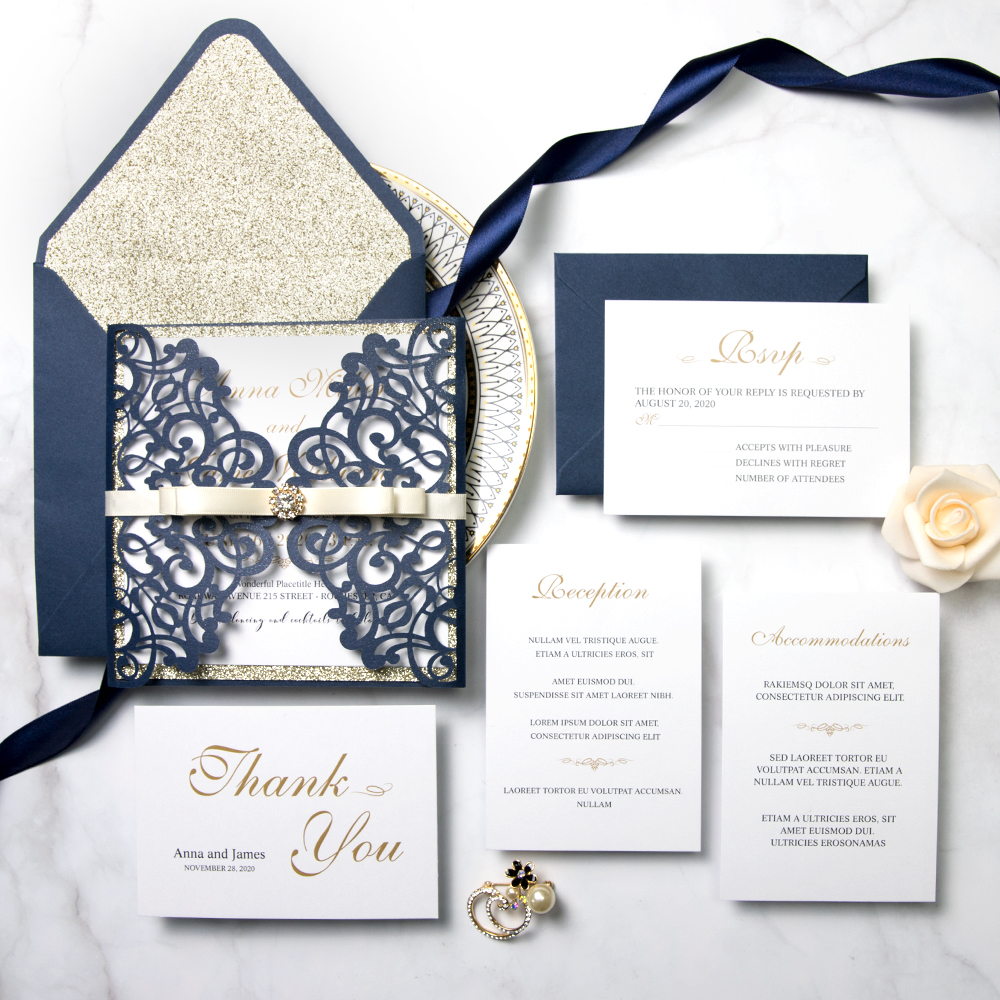 Navy Wedding Invitation: Navy Champagne Glitter Laser Cut Wedding Invitation Suite