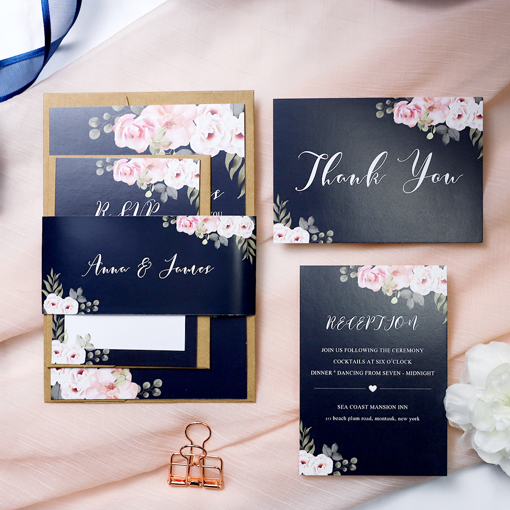 Navy Wedding Invitation: Navy And Pink Floral Rustic Wedding Invitation Suite