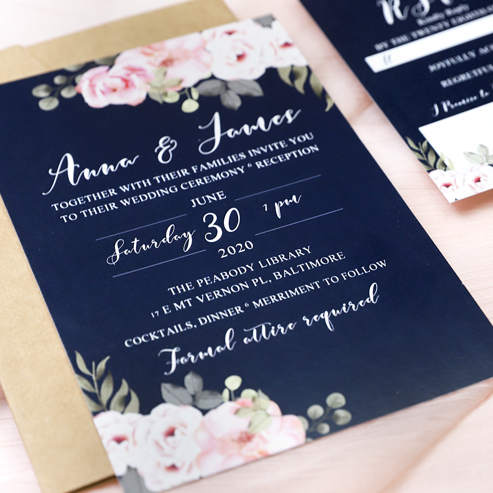 Navy And Pink Floral Rustic Wedding Invitation Suite