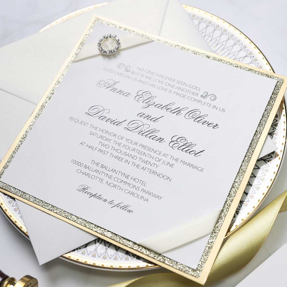 elegant glitter wedding invitation with satin ribbon and round crystal buckle pwim012