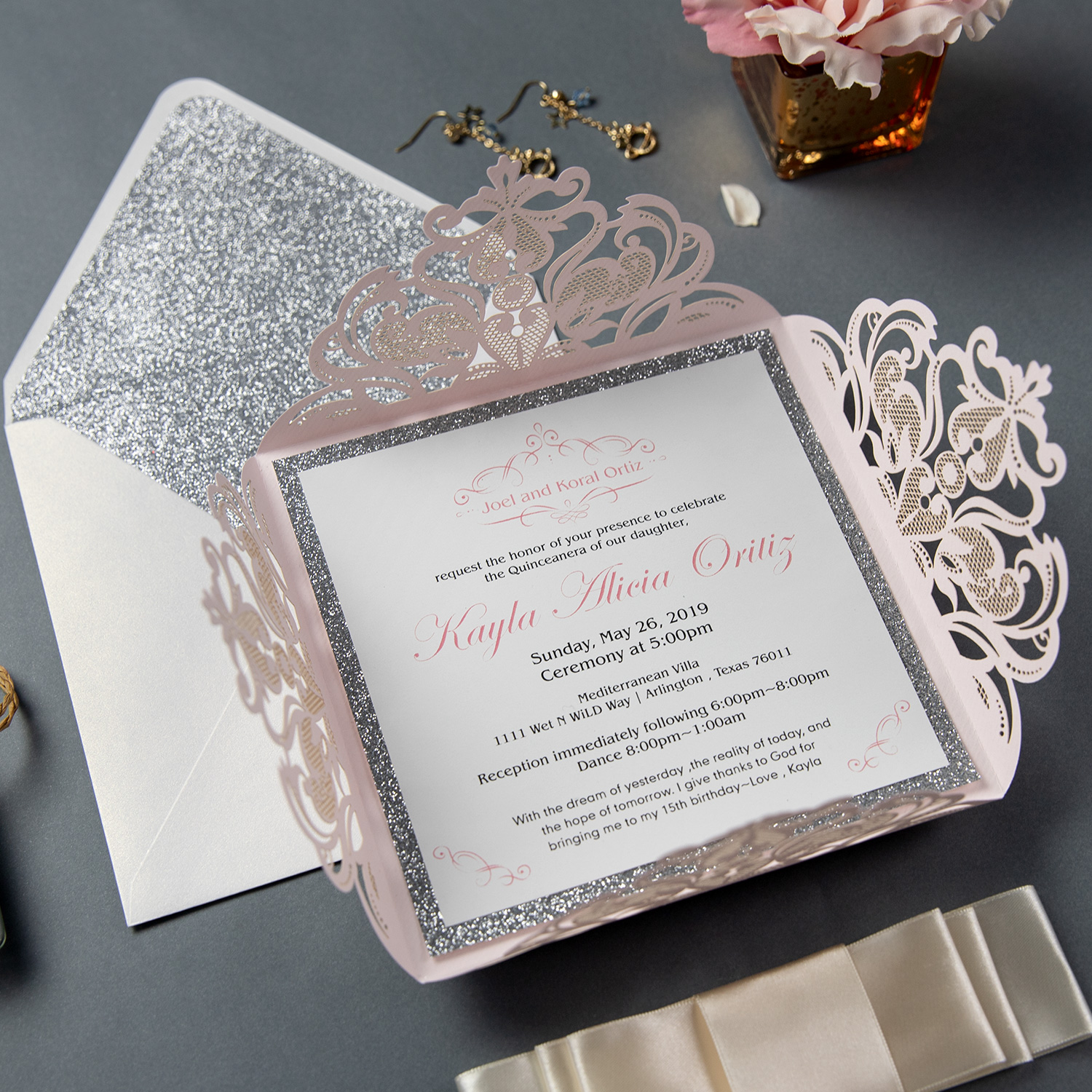 Graceful Blush Shimmer Laser Cut Quinceanera Party Invitations