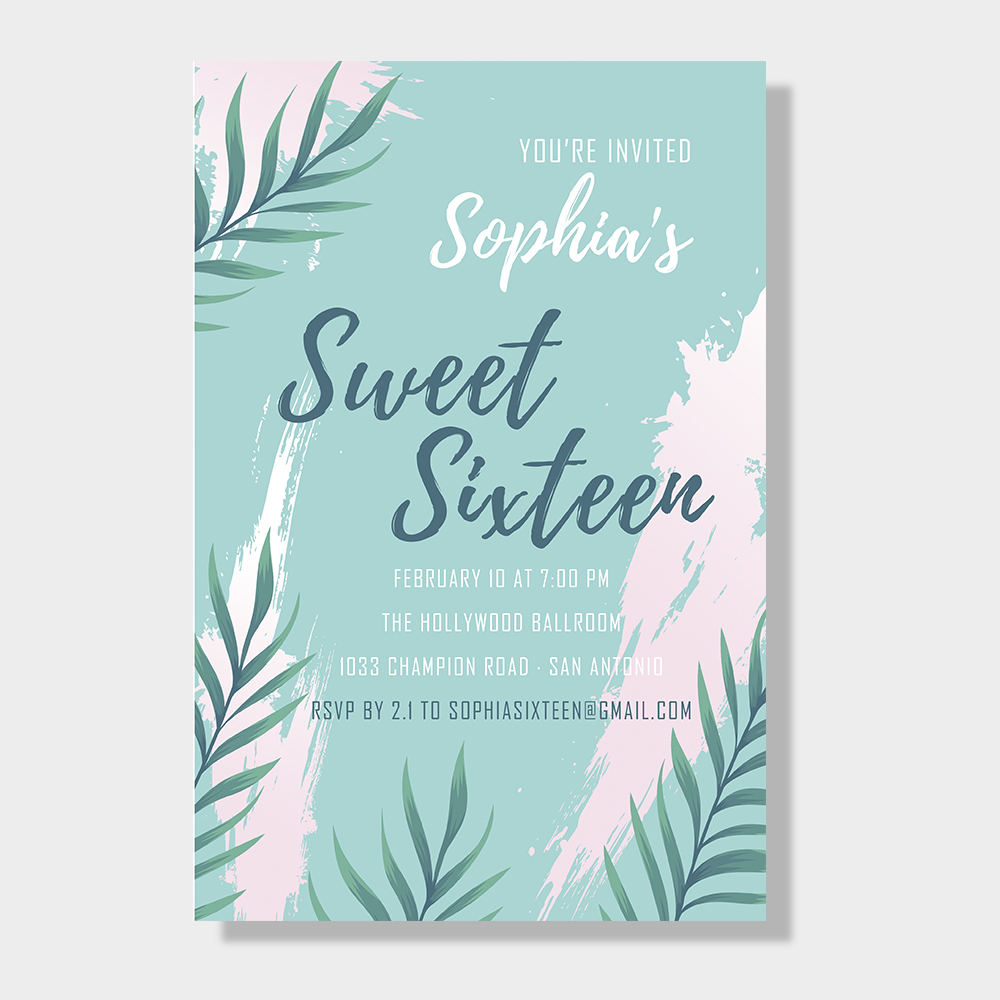 Beach Tropical Leaf Sweet Sixteen Party Invitation PWIT003