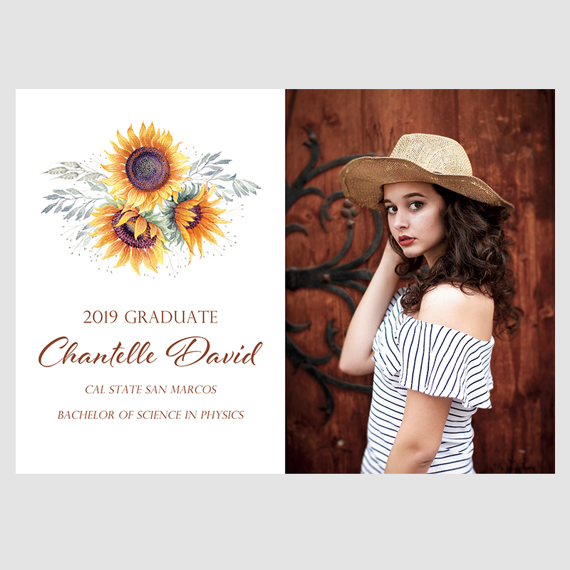 Sunflower Burst Photo Graduation Announcements PWIU001