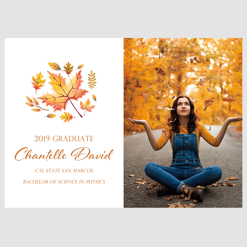 Maple Burst Rustic Fall Photo Graduation Party Invitation Cards PWIU002