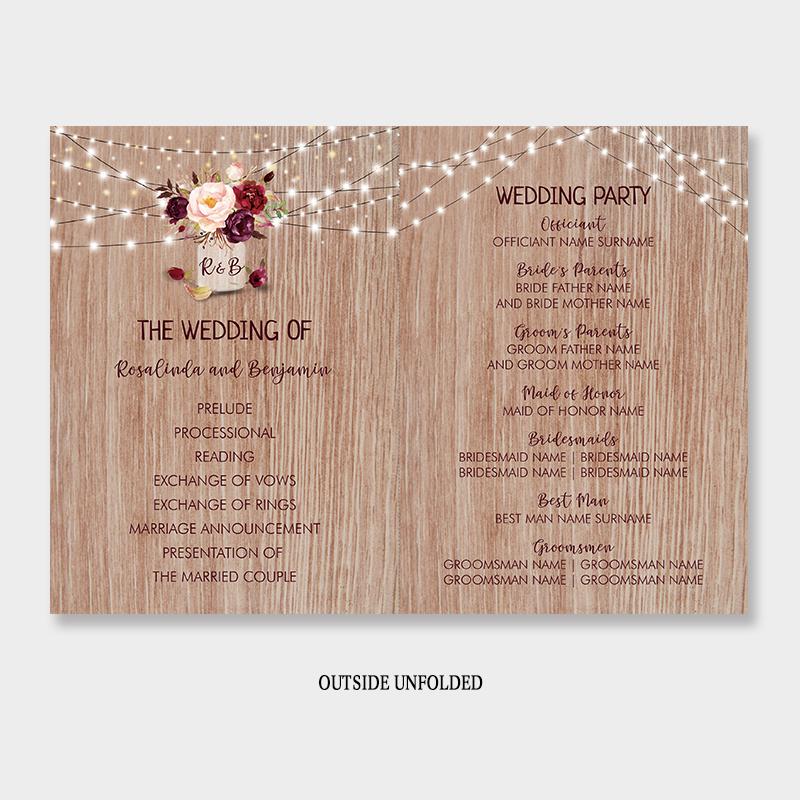 Burgundy Flowers Rustic Wood Mason Jar Wedding Program Fan PWIW008