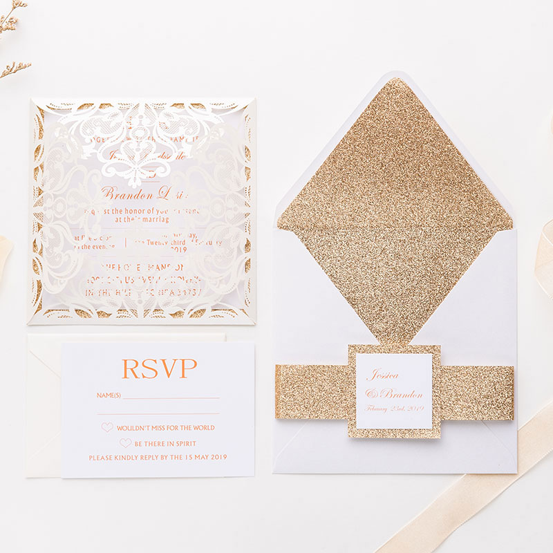 elegant ivory shimmer laser cut wrap wedding invite with rose gold glittery belly band PWIL001