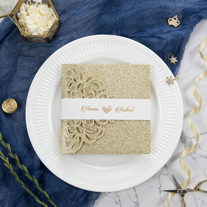 luxury champagne gold glittery laser cut wedding invite with  pocket and belly band PWIL002