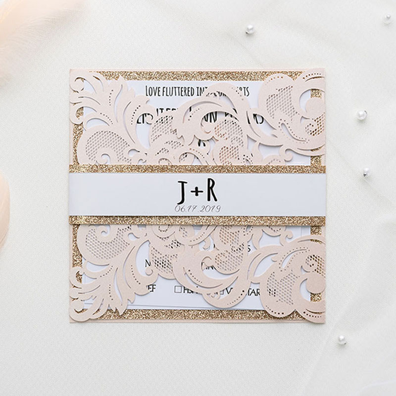 romantic blush shimmer laser cut wrap with rose gold glittery belly band wedding invitation PWIL003