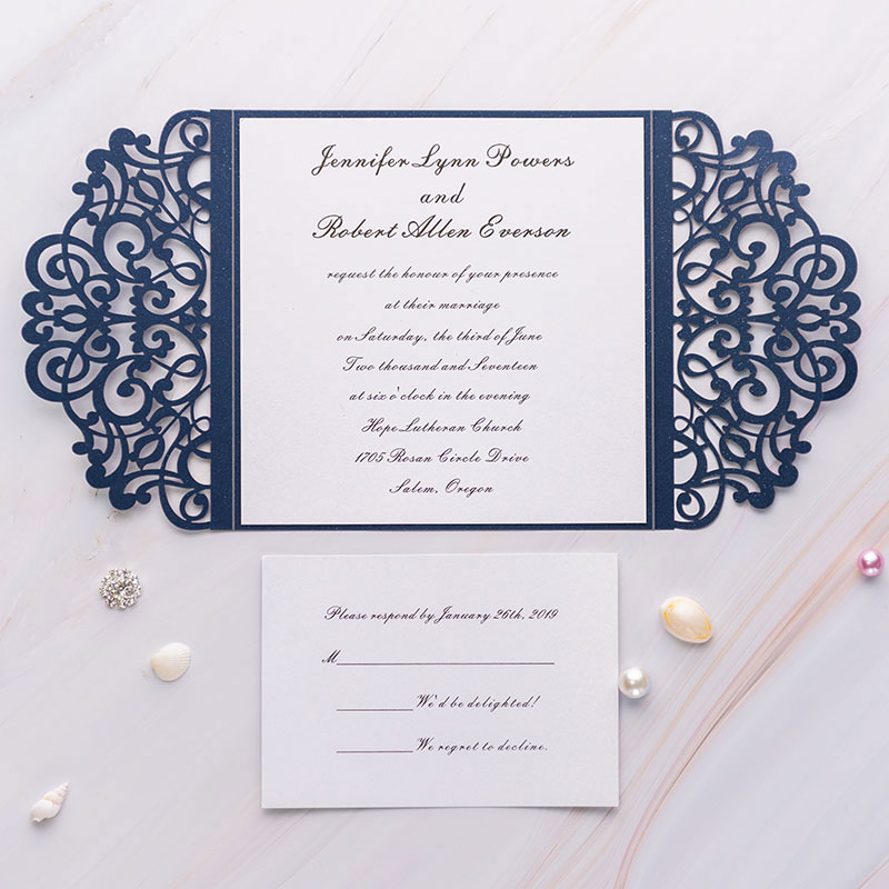 elegant navy blue laser cut wrap wedding invte with gray ribbon and bling rhinestone PWIL004