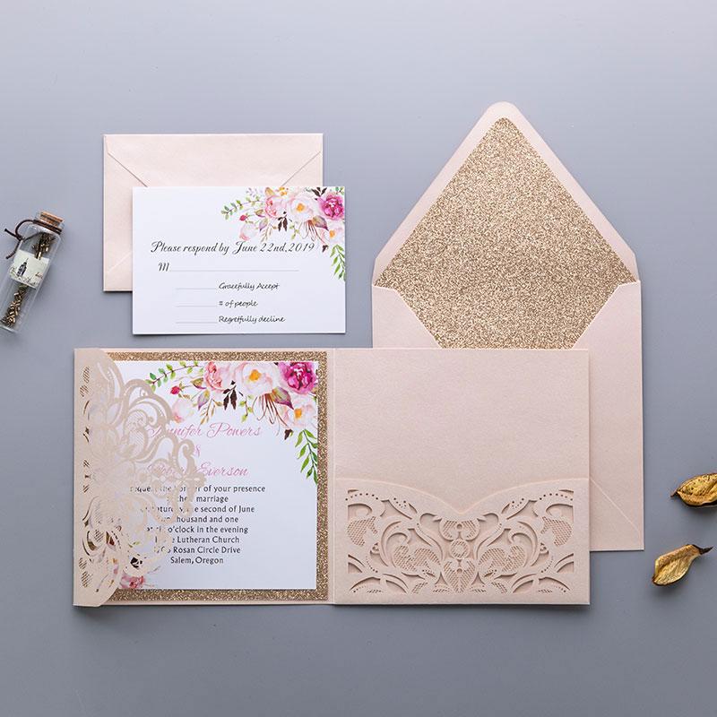 graceful blush shimmer laser cut tri-fold wrap with pocket and fragrant floral wedding invitation PWIL005