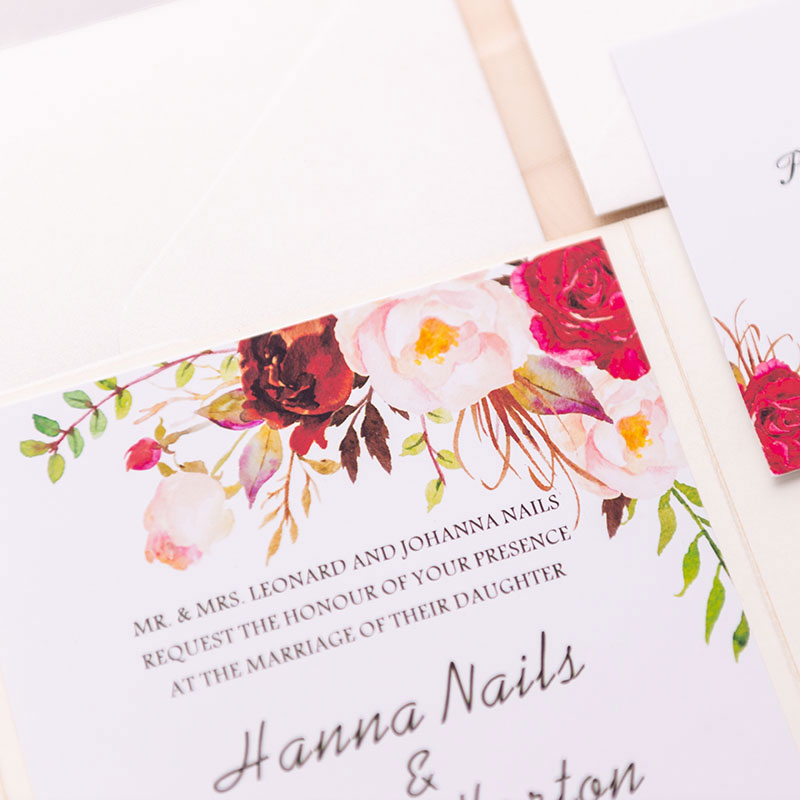 champagne glittery rose pattern laser cut wrap with pocket and floral insert wedding invitation PWIL006