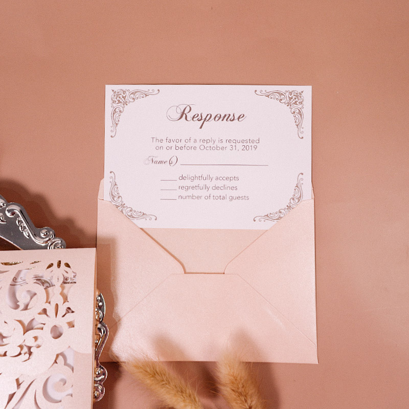 classic blush shimmer laser cut wrap with classic insert wedding invitation PWIL007