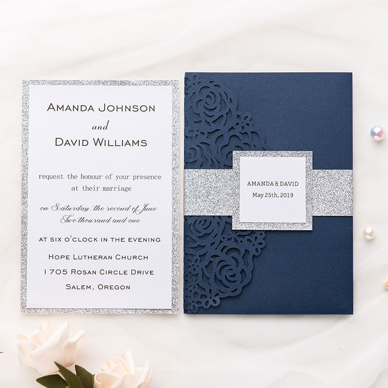 Navy Blue Shimmer Rose Pattern Laser Cut Wrap With Pocket And Silver Glittery Belly Band Wedding Invitation Pwil010 Pro Wedding Invites