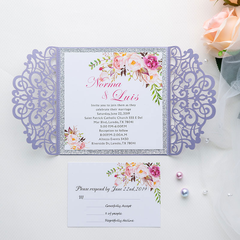 lavender laser cut wrap wedding invite with silver glittery backer and gray ribbon and bling rhinestone PWIL011
