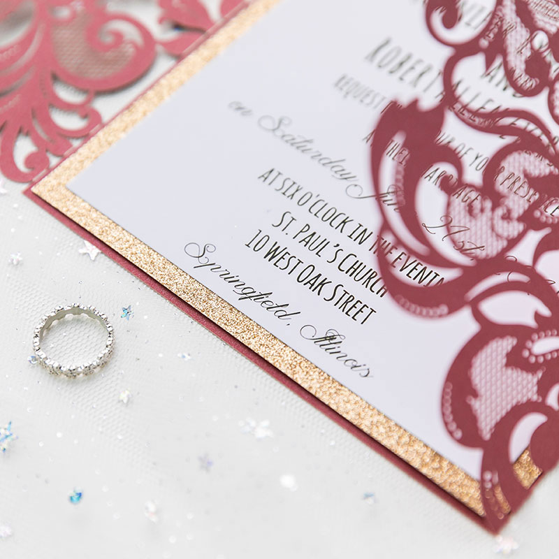 classic burgundy shimmer laser cut wedding invite with rose gold glittery belly band for fall an winter wedding PWIL021