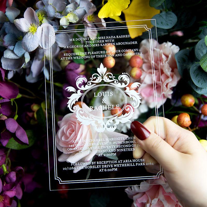 Modern Script Acrylic Wedding Invitations PWIA007