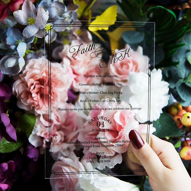 Modern Minimalism Script Acrylic Wedding Invitations PWIA008