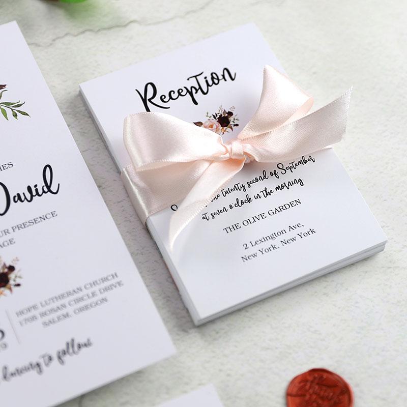 Rustic Marsala Floral Laser Cut Ribbon Wedding Invitation PWIL074