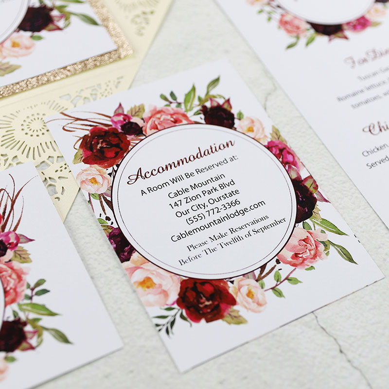 Ivory Laser Cut Floral Unique Wedding Invitations With Glittery Bottom Inexpensive PWIL075