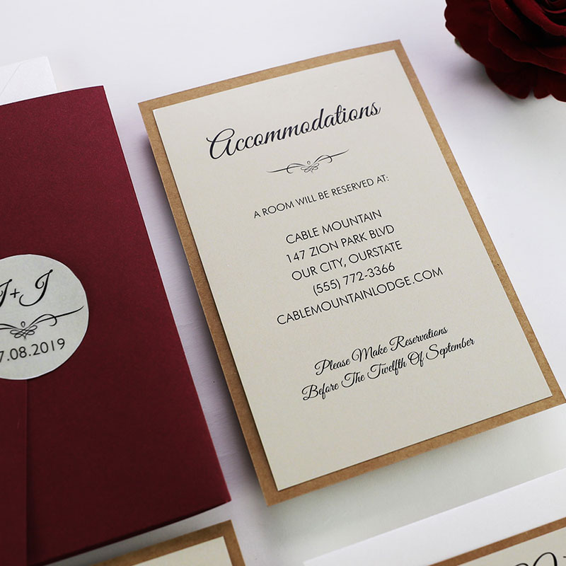 Burgundy and Kraft Wedding Invitation Suite PWIL076