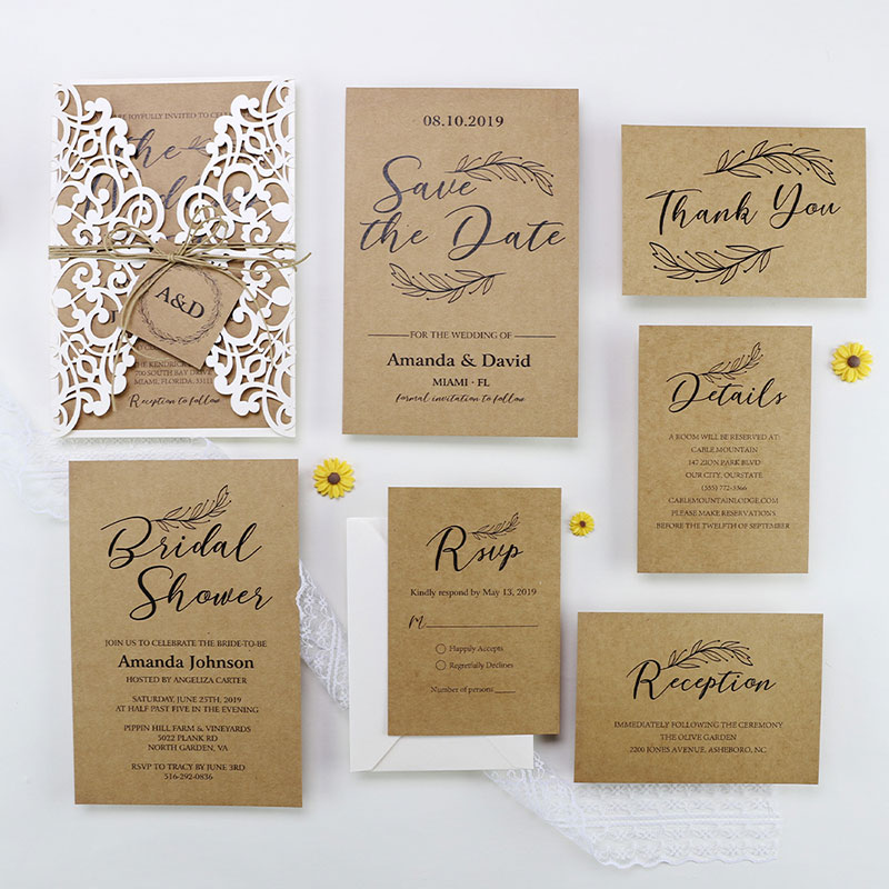 Vintage Rustic Kraft Wedding invitation Set PWIL077