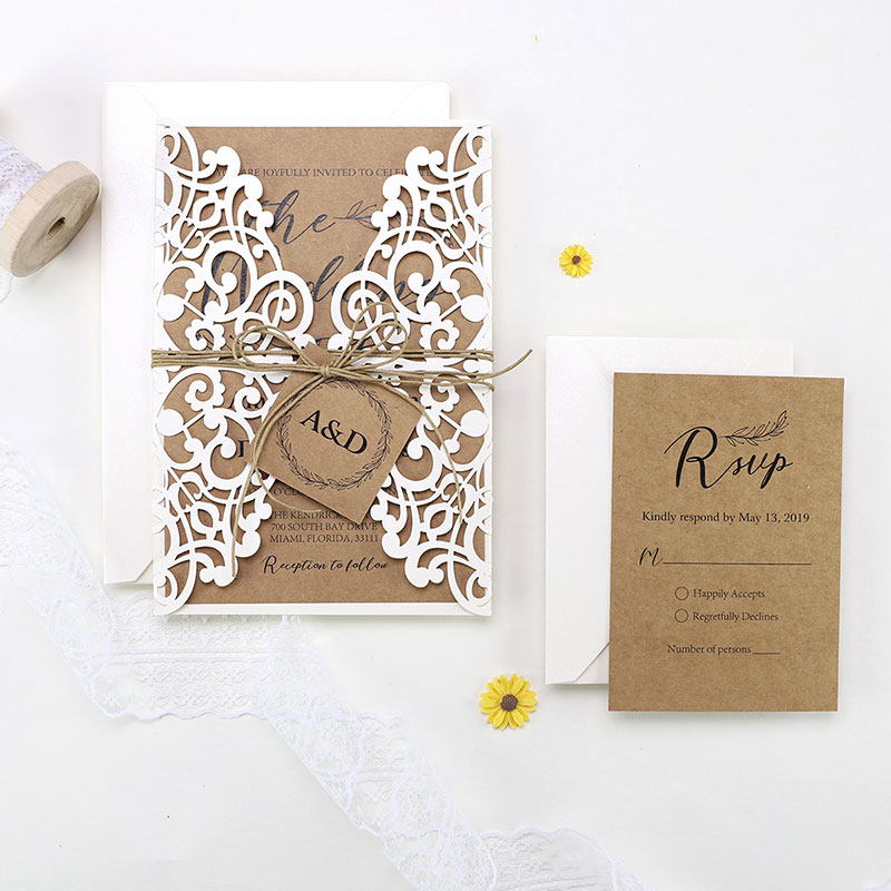 Vintage Rustic Kraft Wedding invitation Set PWIL077