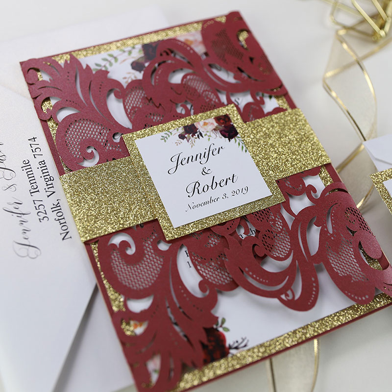 Burgundy Shimmer Laser Cut Wedding Invite With Gold Glittery Belly Band PWIL078