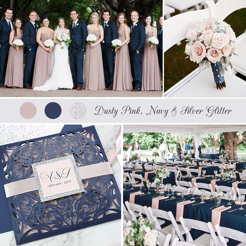 Dusty Rose and Navy Laser Cut Wedding Invitation With Silver Glitter Accent PWIL080
