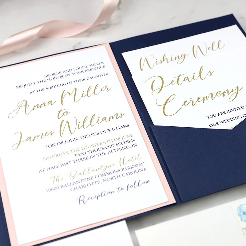Blush Gold and Navy Pocket Stacked Style Wedding Invitation Suite PWIL081