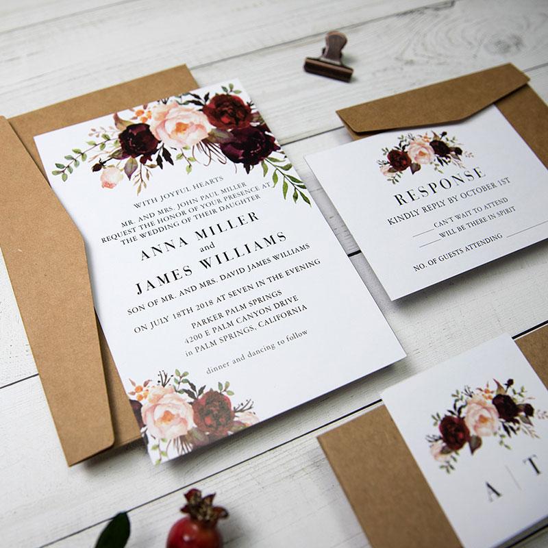 Kraft Burgundy Floral Wedding Invitation Bohemian Rustic Fall Wedding PWIF034