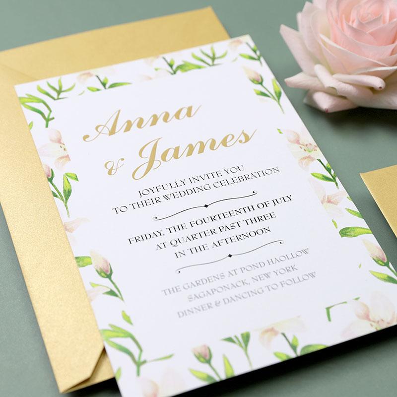 Border of Floral Blush Wedding Invitations PWIF036