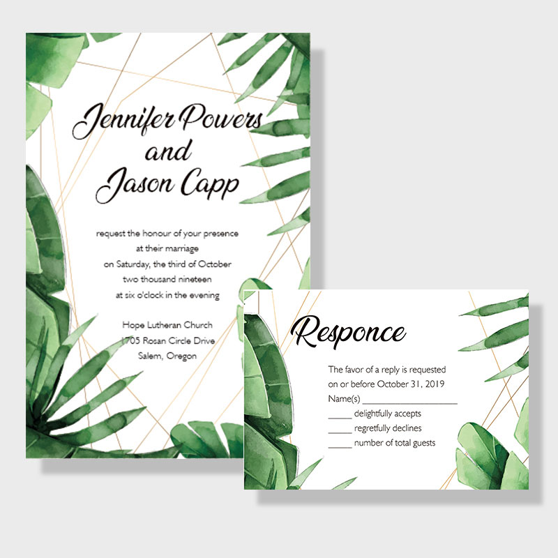 Tropical Greenery Beach Wedding Invitations PWIF037