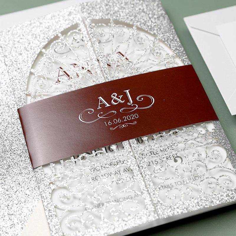 Vintage Silver Laser Cut Gate-folded Wedding Invitations PWIL9 - Pro  Wedding Invites