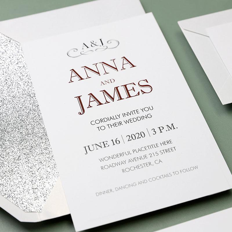 Vintage Silver Laser Cut Gate-folded Wedding Invitations PWIL084
