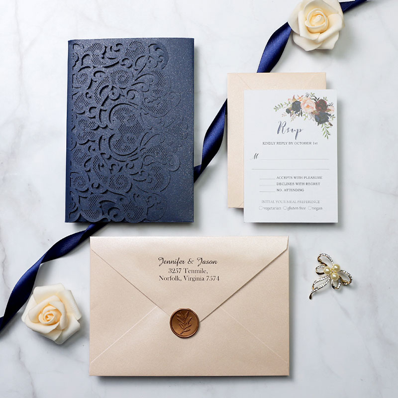Boho Navy Blue Elegance Laser Cut Wedding Invitations PWIL085