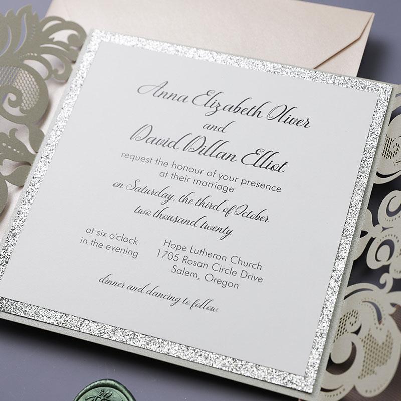 Chic Silver Blush Laser Cut Wedding Invitation PWIL093