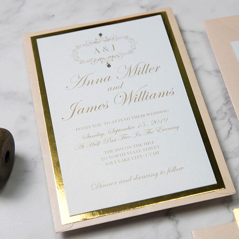 Elegant Gold and Blush Chic Layered Invitation Bundle PWIM005