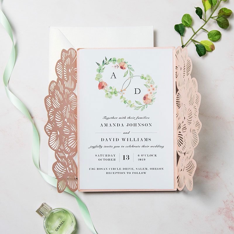 Fresh Spring Bloom Coral and Aqua Mint Wedding Invitation Suite PWIM006