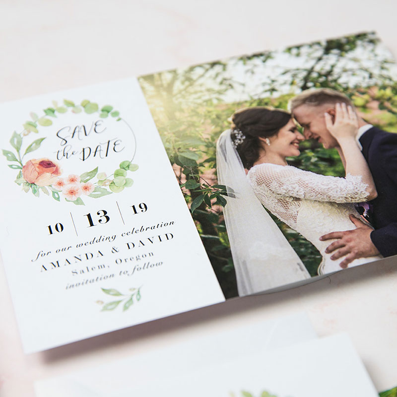 Fresh Spring Bloom Coral and Aqua Mint Wedding Invitation Suite PWIM006