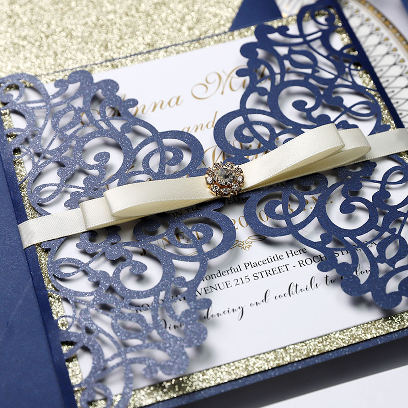 Navy Champagne Glitter Laser Cut  Wedding Invitation Suite PWIM007
