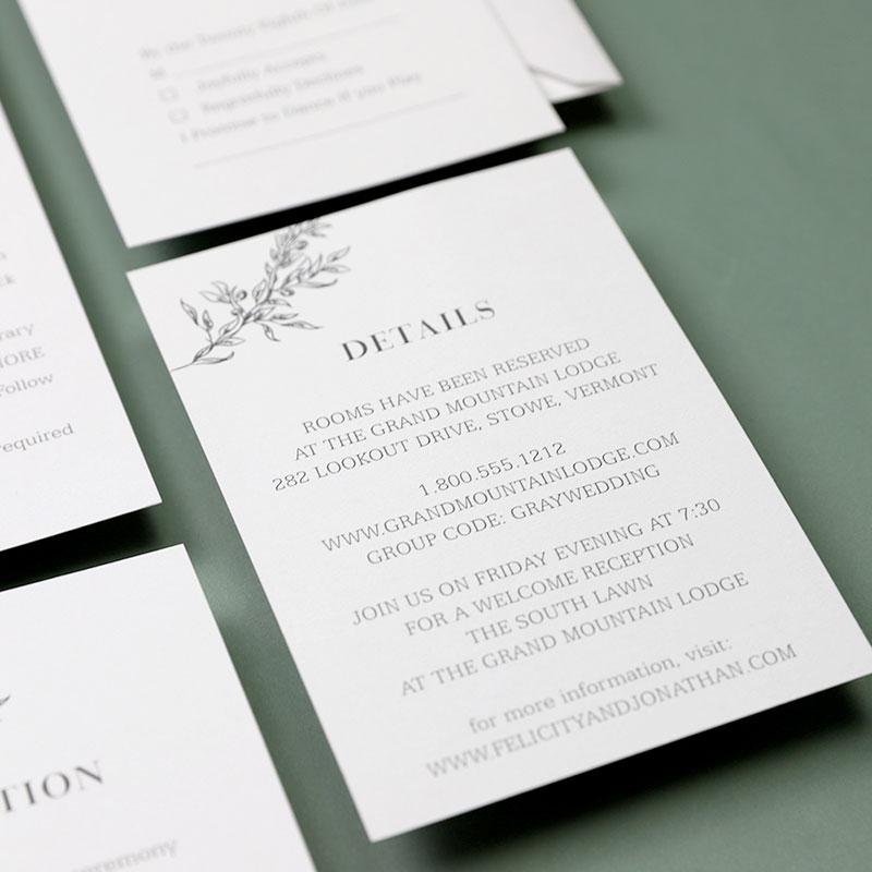 Minimalism Simple Leaf Wedding Invitations PWIM008