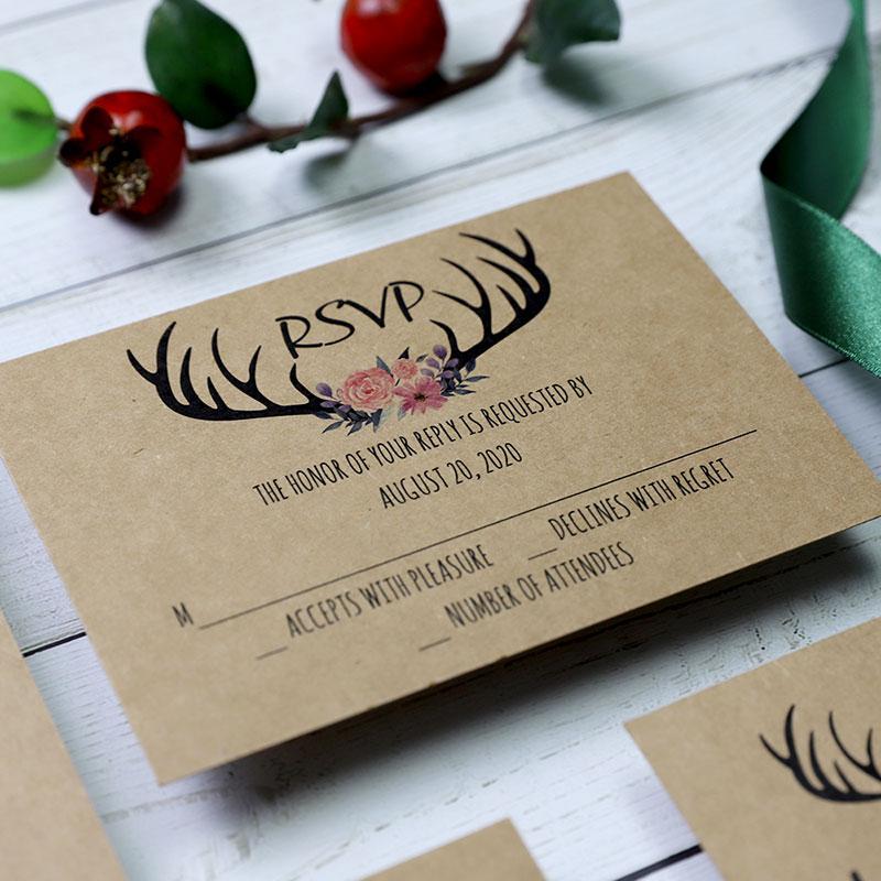 Rustic Country Burgundy Antler Wedding Invitation Suite PWIM010