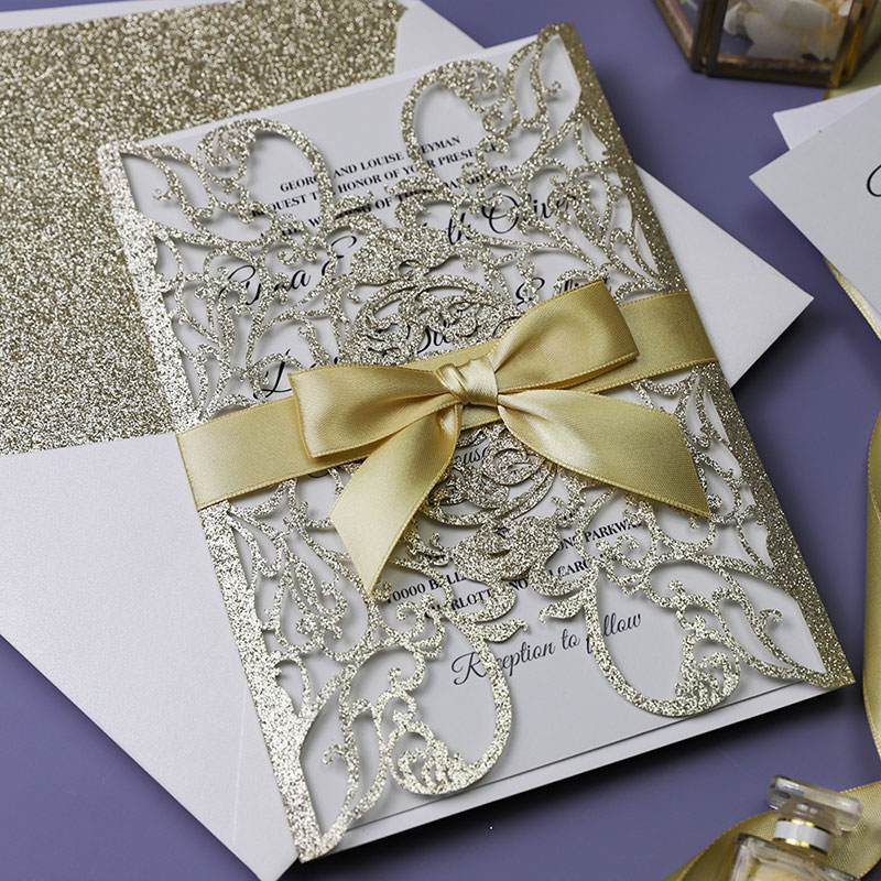 Ivory and Champagne Glitter Gold Laser Cut Wedding Invitation PWIL087