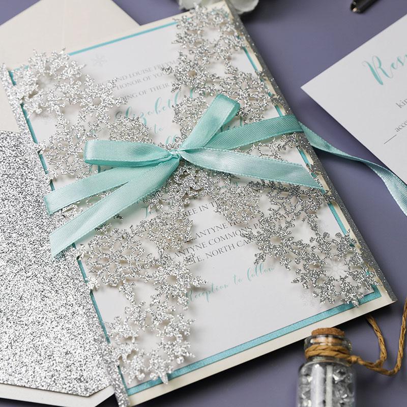 Snowflake White Silver Aqua Winter Wedding Invitation PWIL088